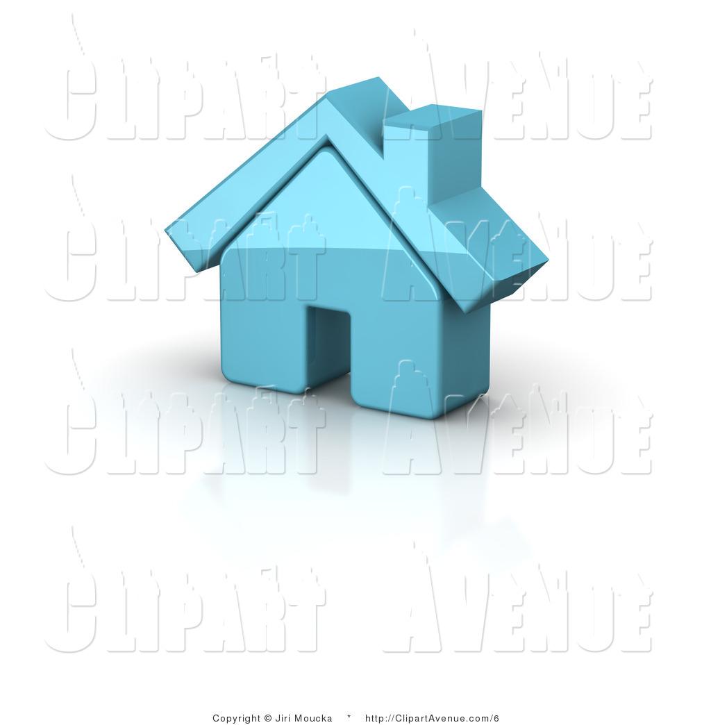 Avenue Clipart of a 3d Blue Residential Home by Jiri Moucka.
