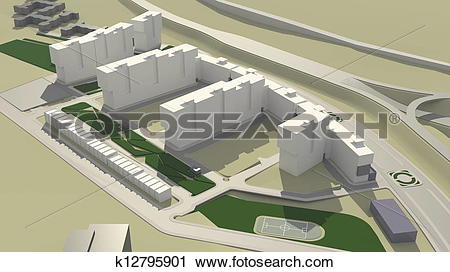 Clipart of Residential complex (3d rendering) k12795901.