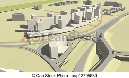 Drawings of Residential complex (3d rendering).