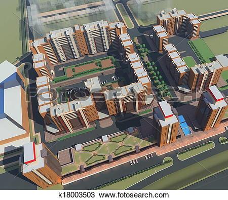 Drawing of Residential Complex Irkutsk (3d ren k18003503.