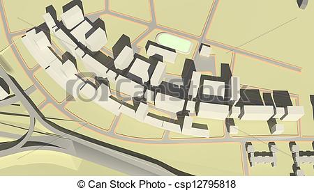 Clipart of Residential complex (3d rendering).