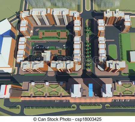 Clip Art of Residential Complex Irkutsk (3d rendering) csp18003425.