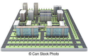 Clip Art of Residential complex (3d rendering).