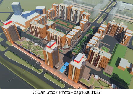 Drawings of Residential Complex Irkutsk (3d rendering) csp18003435.