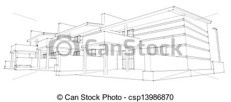 Stock Illustrations of pencil sketch of residential development.