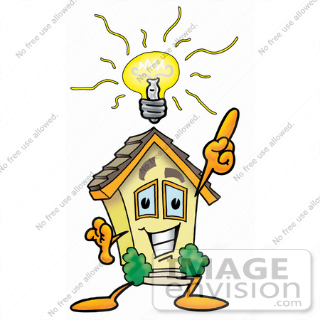 Clip Art Graphic of a Yellow Residential House Cartoon Character.