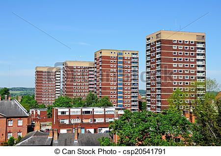 Stock Photographs of Blocks of flats, Tamworth..