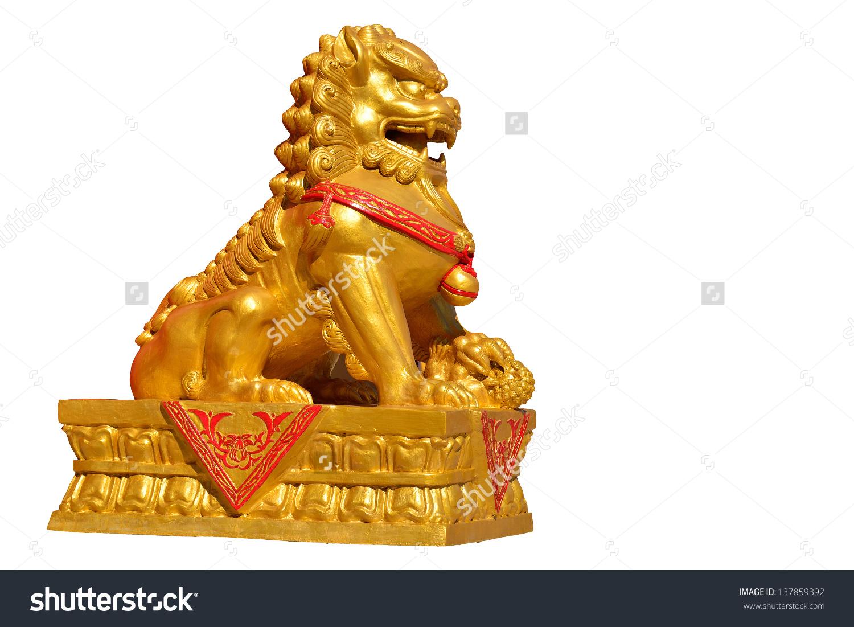Golden Lion Statue Symbol Protection Power Stock Photo 137859392.