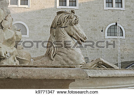 Picture of horse fountain, Residenzplatz, Salzburg, Austria.