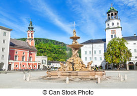 Stock Photography of Residenzplatz in Salzburg, Austria.