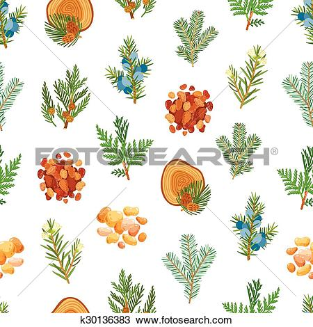 Clipart of Coniferous, pine, wood and resin seamless pattern.