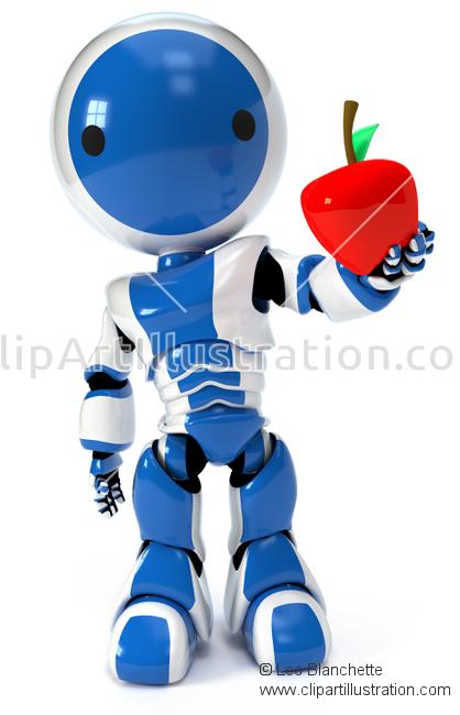 ClipArt Illustration Plastic Robot Holding Resin Mold Apple.