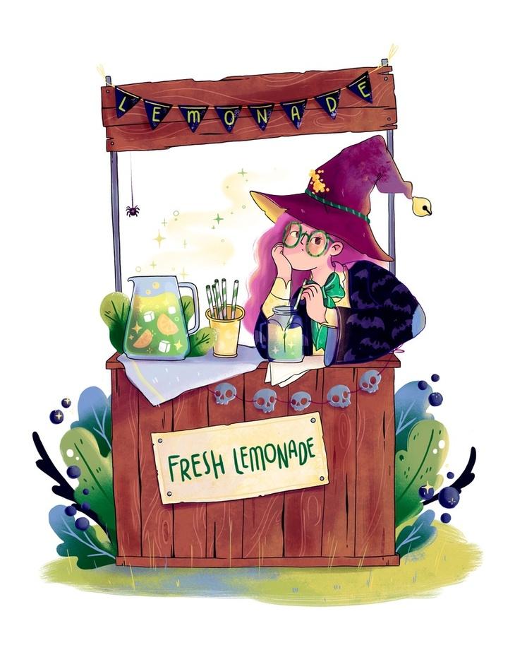 Lemonade Witch, an art print by Elena Resko.