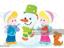 Çocuk Bir Kardan Adam Yapma Stock Vector.