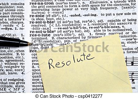 Picture of Resolute written on sticky note on top of dictionary.