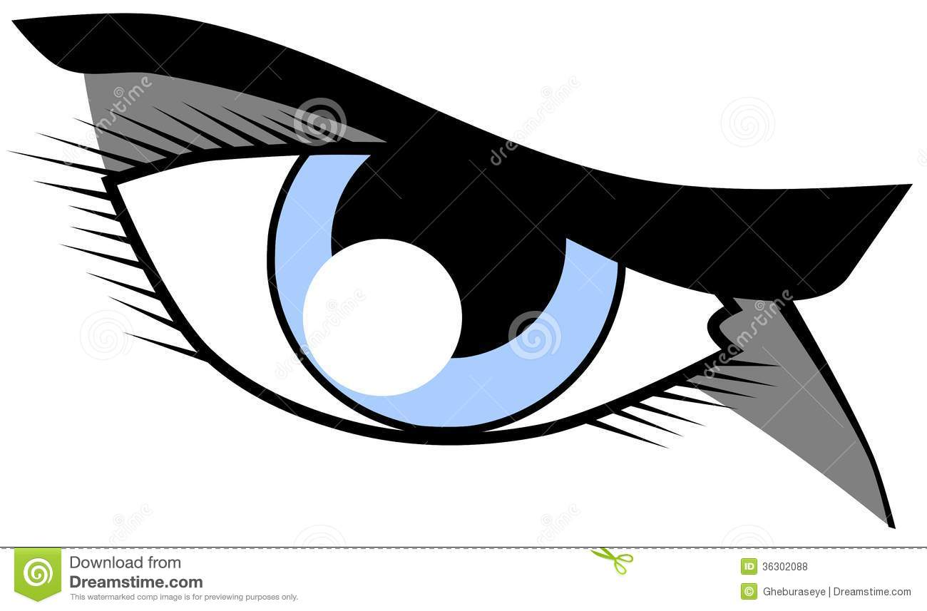 Eye With Resolute Look Isolated Royalty Free Stock Photos.