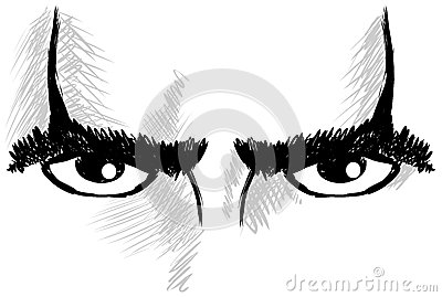Isolated Eye With Resolute Look Stock Images.
