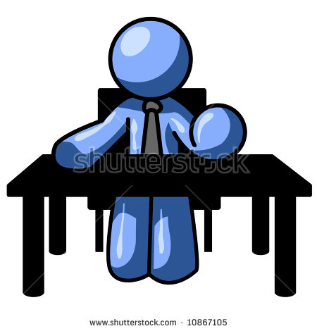 A Blue Man At A Table Probably Resolute About Whatever He Is.