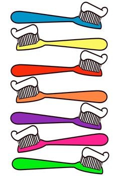 Toothbrush clip art. This file contains 7 toothbrushes in color.