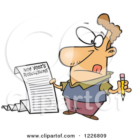 Clipart of a Cartoon Man Writing a Long New Years Resolutions List.