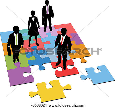 Clipart of Business people human resources team puzzle k3847681.