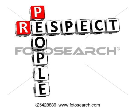 Stock Images of 3D Crossword Respect People on white background.