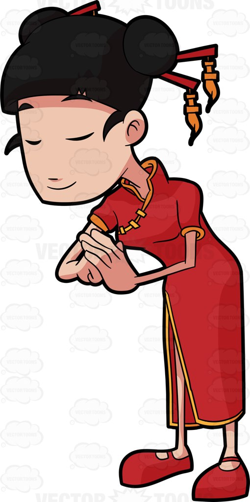 A Chinese Woman Bowing In Respect Cartoon Clipart.
