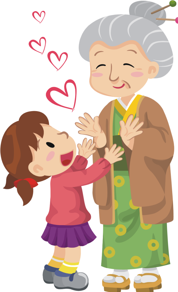 Young And Old Cartoon Respect clipart - Clip...