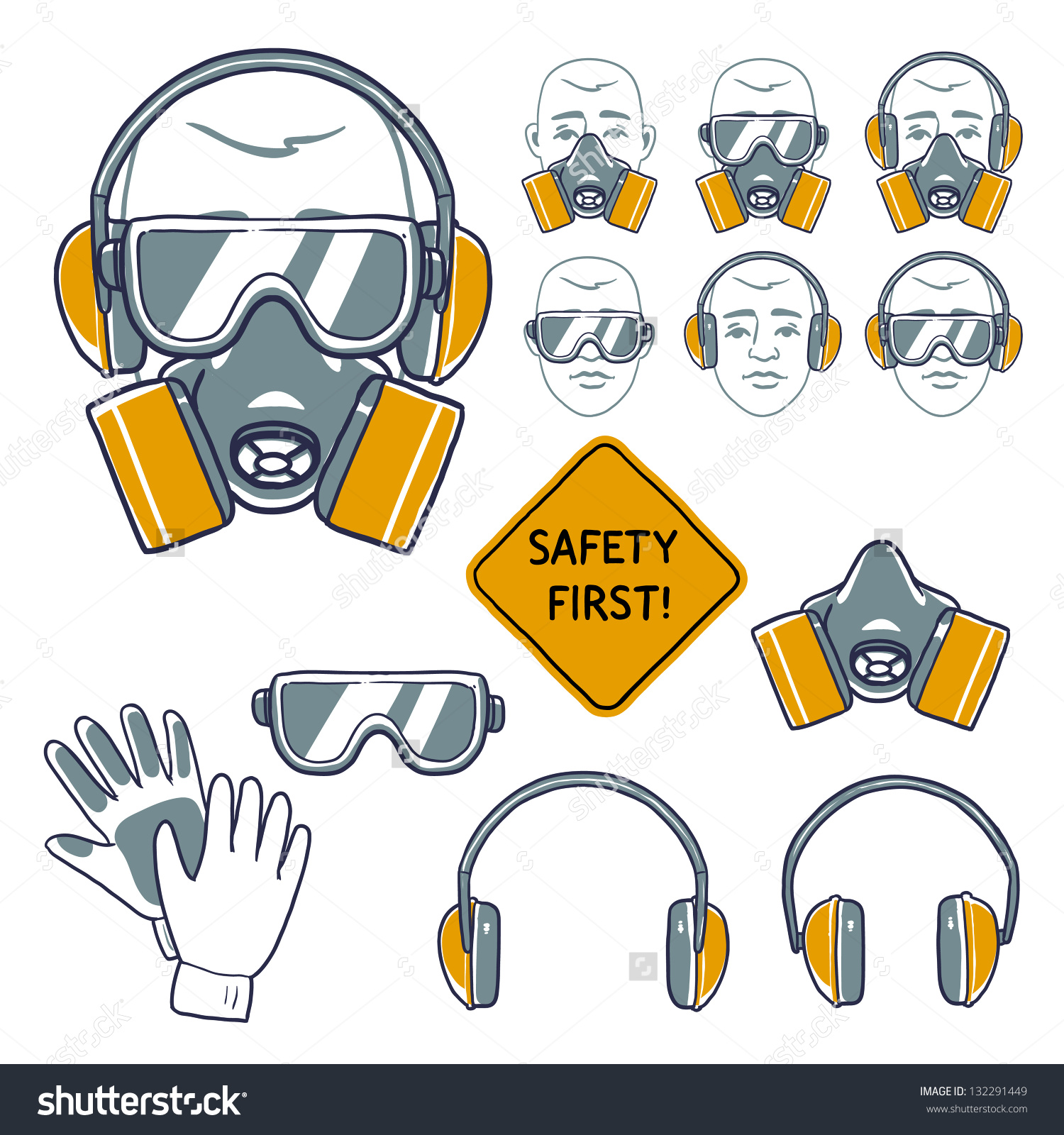 Hand Drawn Safety Signs Eye Protection Stock Vector 132291449.
