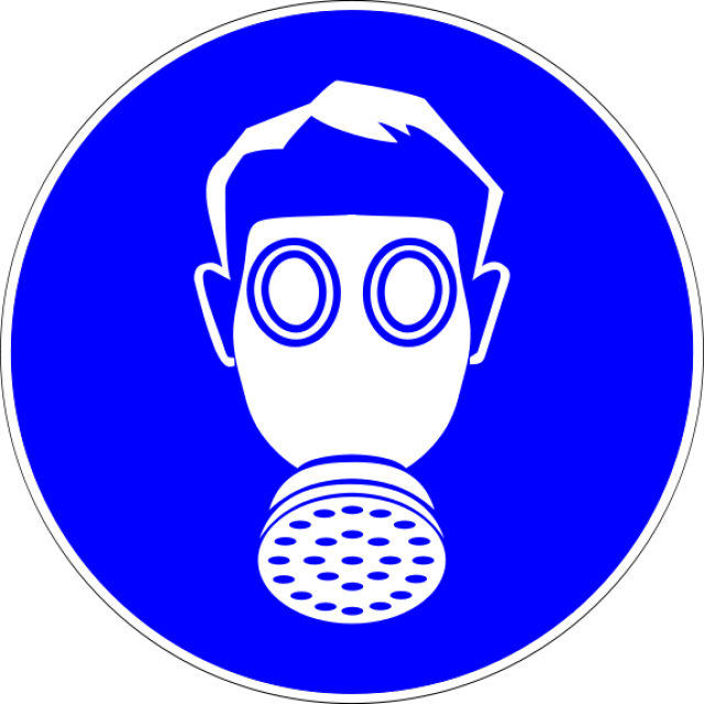 Science Laboratory Safety Signs: Blue Respiratory Protection Sign.