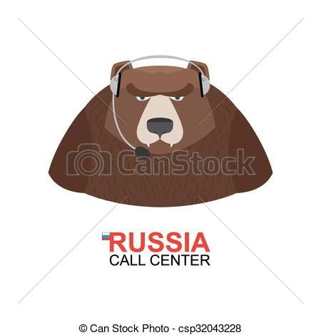 Vector Illustration of Russia call center. Bear responds to phone.