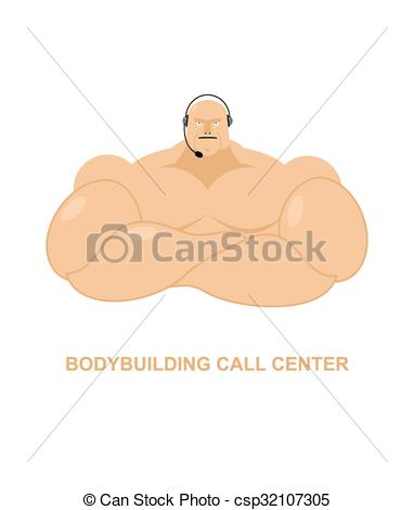 Vector Clipart of Bodybuilding call Center. Athlete with headset.