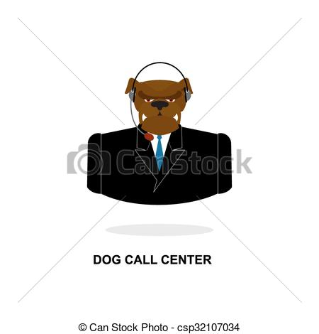 Vectors of Doggy call Center. Dog with headset. Pet in costume.