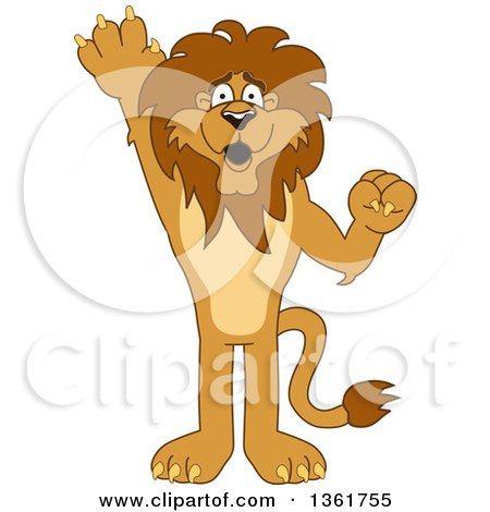 Clipart of a Lion School Mascot Character Washing His Hands.