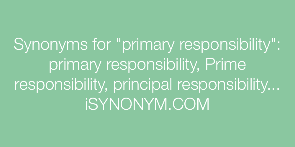 Synonyms for primary responsibility.