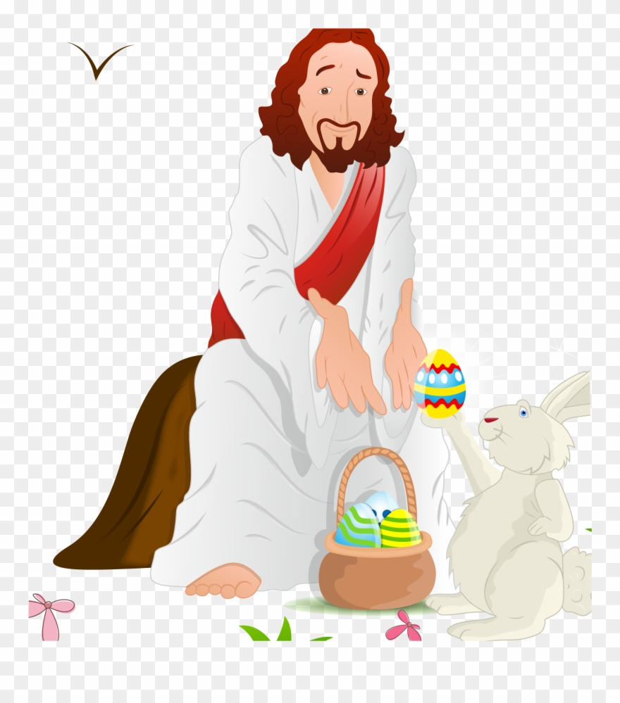 Easter Bunny Resurrection Of Jesus Illustration And Clipart.