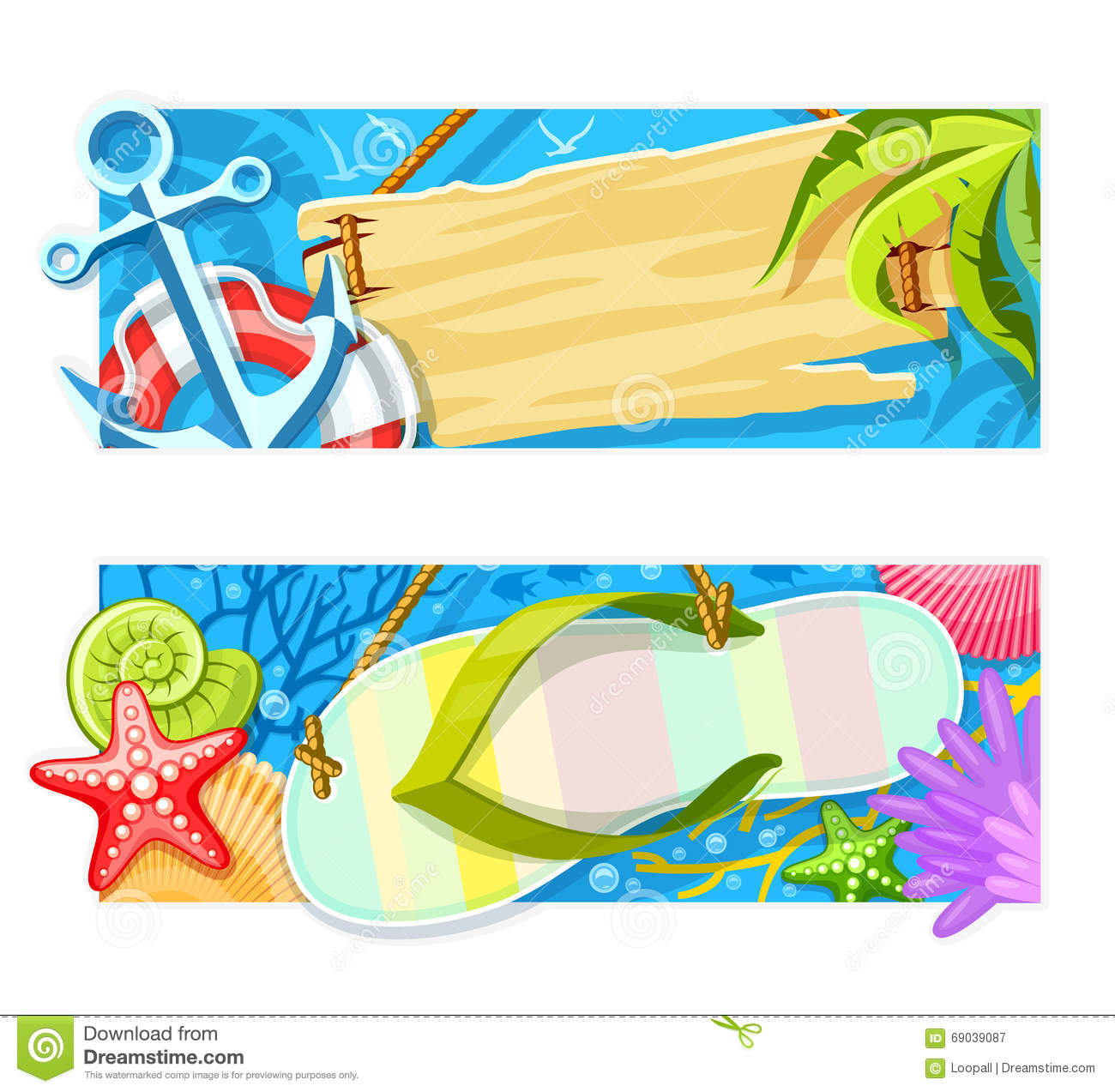 Summer Sea Beach Rest Banners. Vector Stock Illustration.