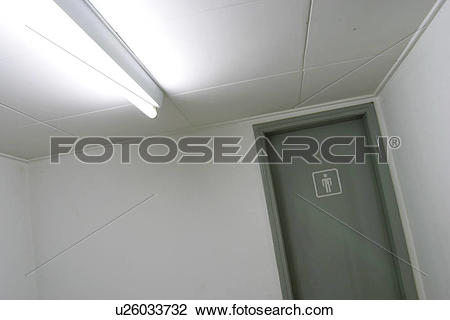 Stock Photo of rest room sign, tube light, indoors, public rest.