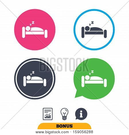 Hotel apartment sign icon. Travel rest place. Sleeper symbol.