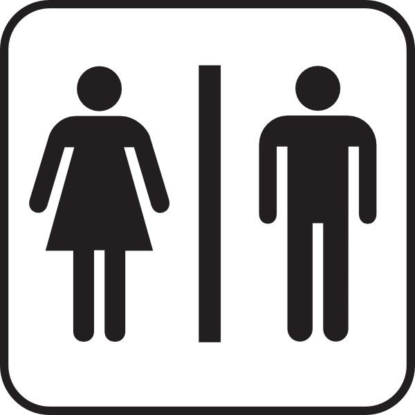 Men Women Bathroom clip art Free vector in Open office.