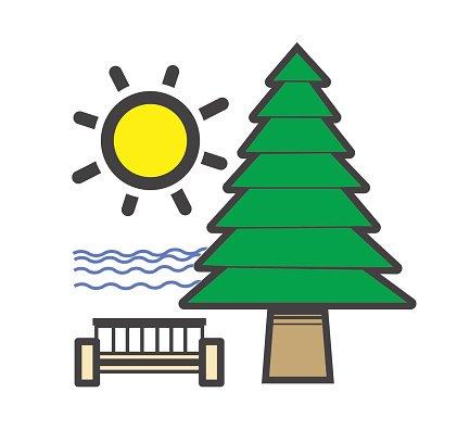 Roadside Rest Area Logo OR Icon, Vector premium clipart.