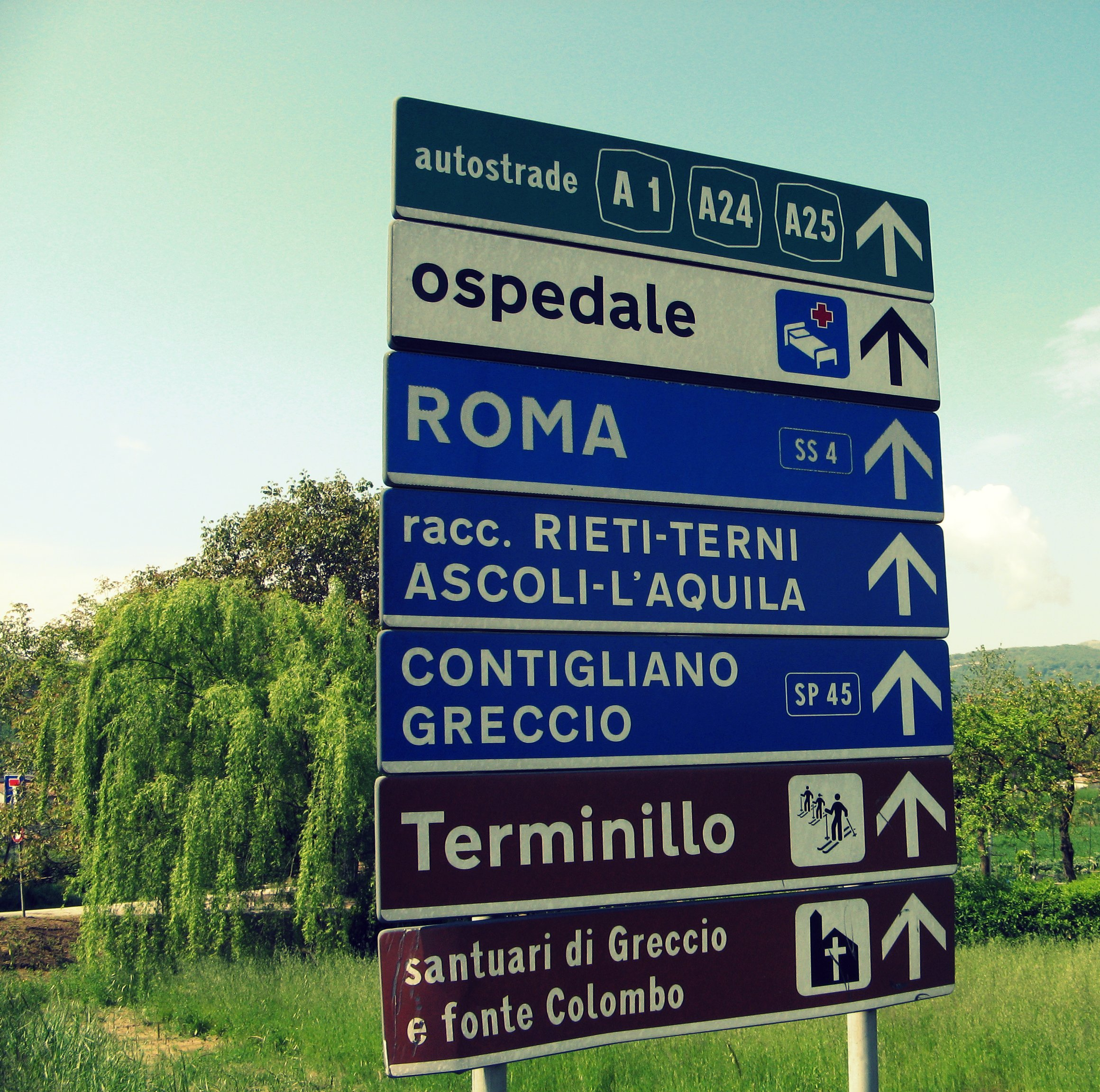 Road signs in Italy.