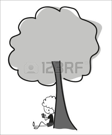 Rest Under Tree Black And White Clipart