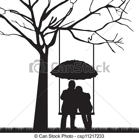 Free Black And White Of Couples Under A Tree Clipart.
