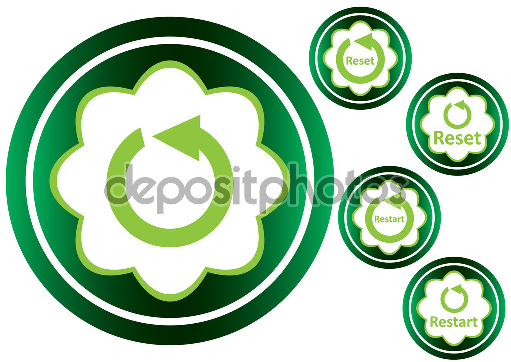 Green icons restart reset clipart — Stock Vector © UnderWorld.