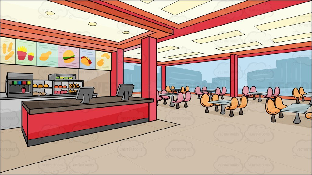Inside A Fast Food Chain Restaurant Background.