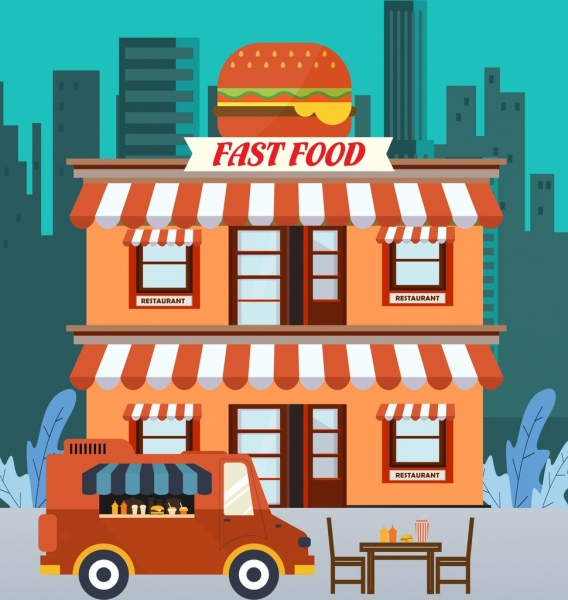 Restaurant background fast food theme cartoon design Free.