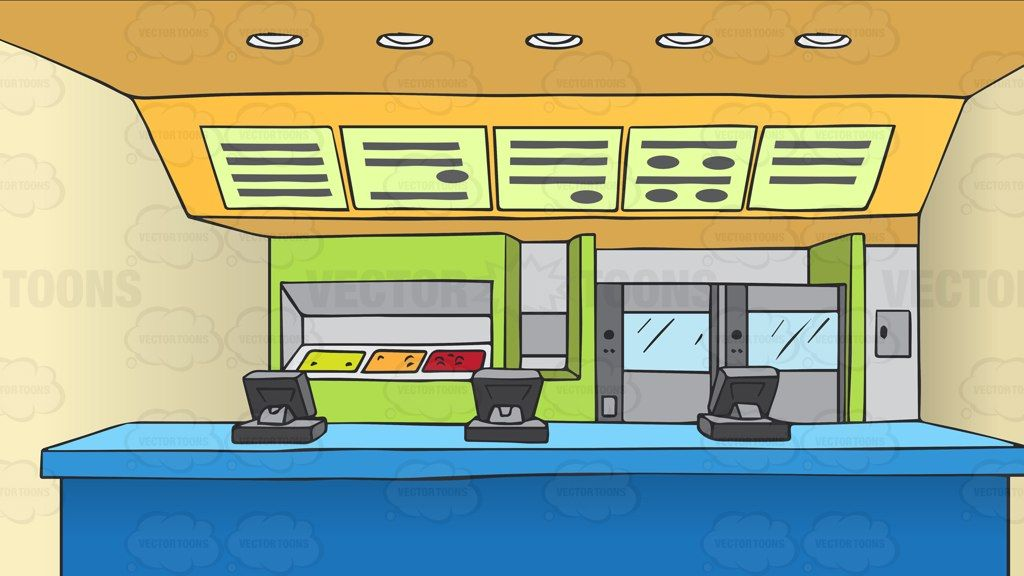Counter At A Fast Food Restaurant Background #cartoon.