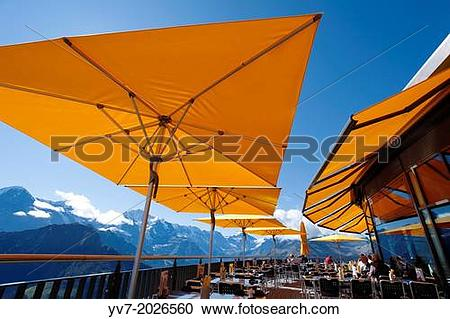 Stock Photography of Schynige Restaurant Terrace Platte with a.
