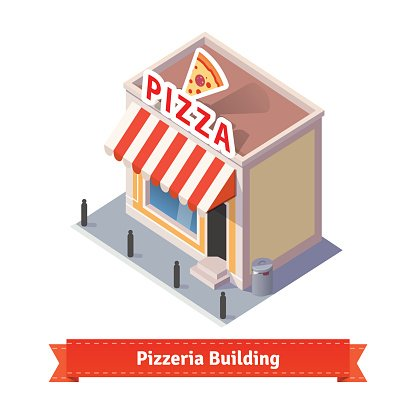 Pizza restaurant and shop building Clipart Image.